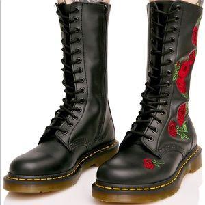 Dr. Martens 'Vonda' Rose Embroidered 14-Eye Boots